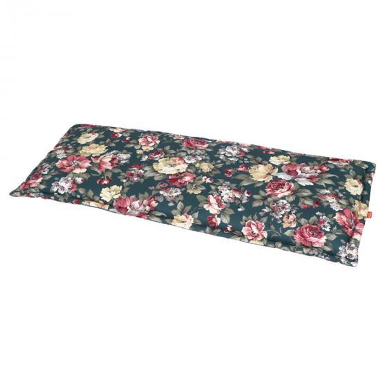 Gartenbank-Auflage Lissa, 110 cm, Blume-petrol