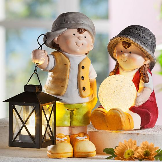 Gartenfiguren Set, LED, 2-teilig