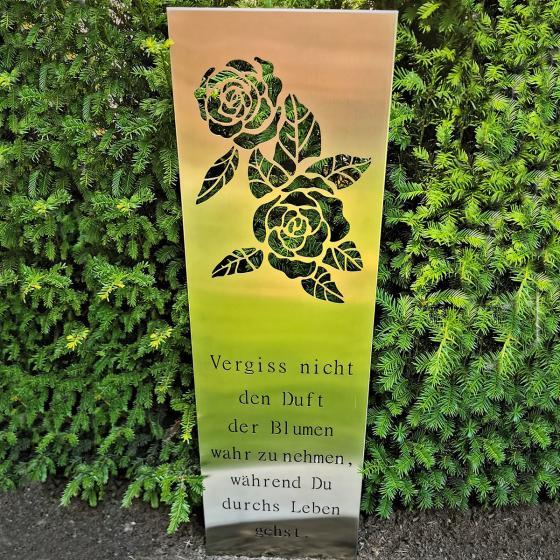 Edelstahl Gartenschild Vergiss nicht den Duft der Blumen