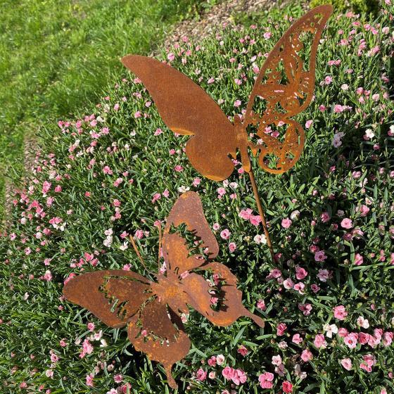 Gartenstecker Butterfly Duo, Rostdeko