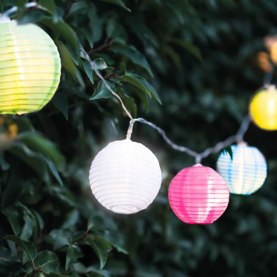 LED Lichterkette Laterne, 7,2 m, Nylon, bunt