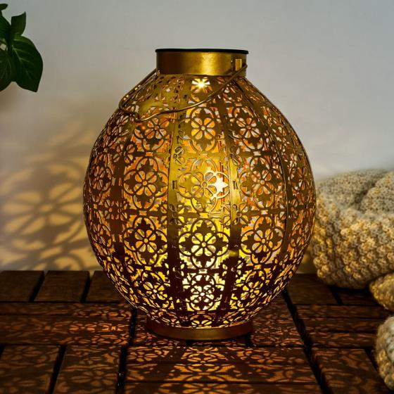 Solar-Laterne Sunshine Aura, Metall, gold
