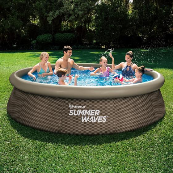 QuickUp-Pool Rund mit Filterpumpe, 366 x 76cm, Rattanstyle