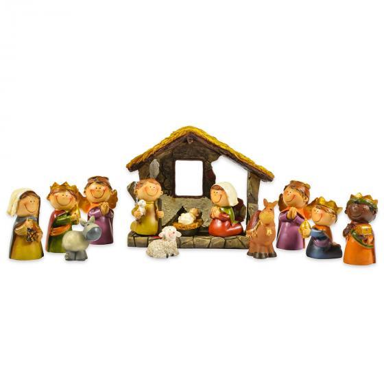 Kinder-Krippenfiguren mit Stall, 12er Set