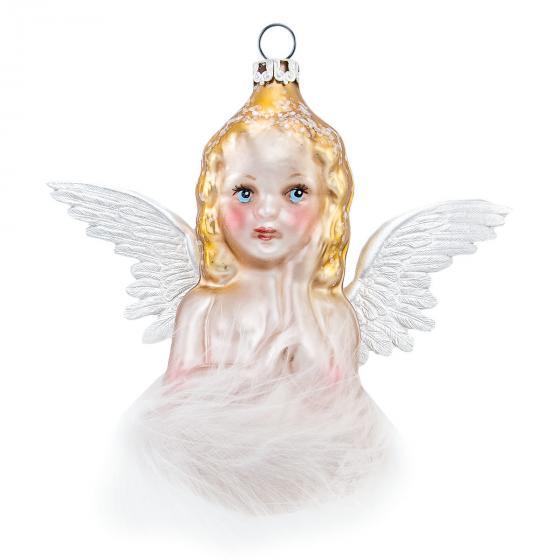 Christbaumschmuck - Engel auf Wolke, 10 cm, mundgeblasen