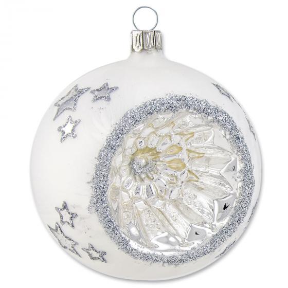 Christbaumkugel - Reflexkugel mit Sternen, 6 cm, eisweiß, mundgeblasen