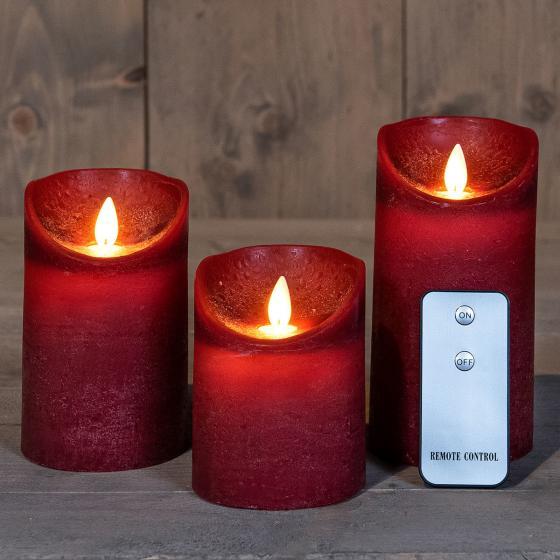 LED-Echtwachskerze mit beweglicher Flamme, 3er Set, weinrot