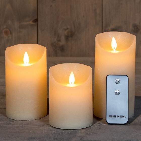 LED-Echtwachskerze mit beweglicher Flamme  3er Set, creme