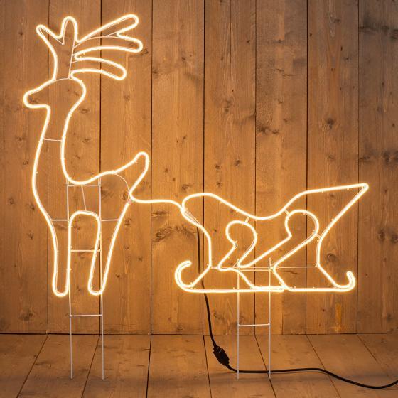 Premium-Neon-LED-Hirsch mit Schlitten, 92x115 cm