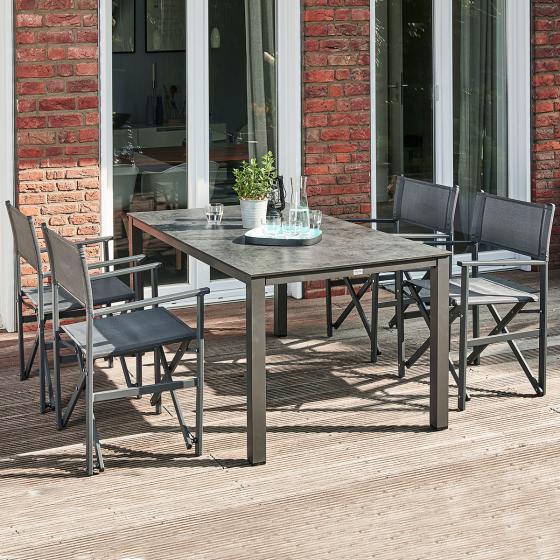 Gartenmöbel-Set Paulo mit 4 Klappsesseln und Dining-Tisch, 160x90 cm