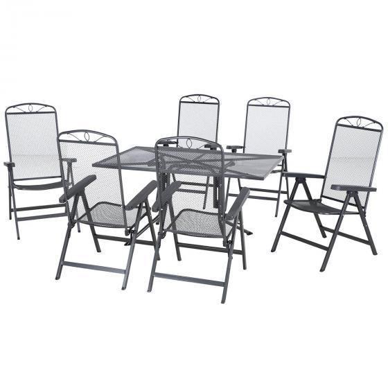 Gartenmöbel-Set Elda mit 6 Klappsesseln und Dining-Tisch, 140x90 cm