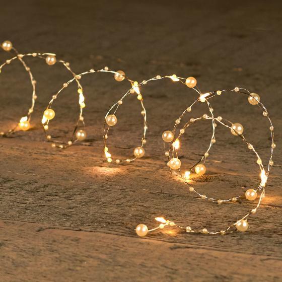 LED-Lichterkette Silberdraht mit Perlen, 2 m