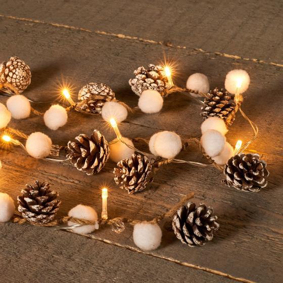 LED-Lichterkette mit Schneebällen und Tannenzapfen, 1 m