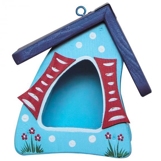 Vogelhaus Gartenlust, blau mit Tupfen