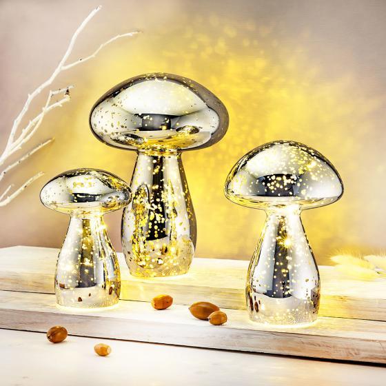 LED Stimmungsleuchten Pilze, 3er Set