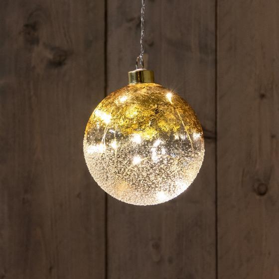 LED-Glaskugel mit Sternen, 12 cm, gold