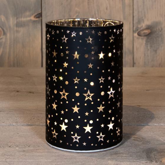 LED-Glas mit Sternen, 10x15 cm, schwarz