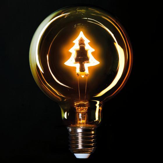 Retro LED-Dekolampe mit Weihnachtsbaum, 13,5x9,5 cm