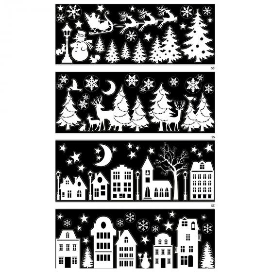 Fensterdeko Winter / Weihnachten 4-fach, 21 cm x 59,5 cm, schwarz / weiss