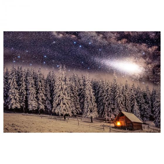 LED-Bild Schneelandschaft mit Sternenhimmel, Leinwand, 58x38 cm