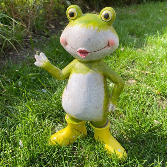 Frosch Fridolin mit gelben Gummistiefeln