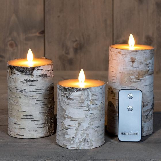 LED-Kerzen mit beweglicher Flamme, 3er-Set, Birken-Design