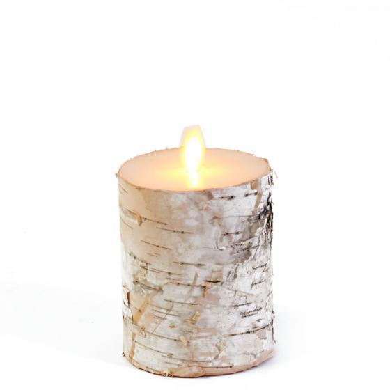 LED-Kerze mit beweglicher Flamme, 10 cm, Birke