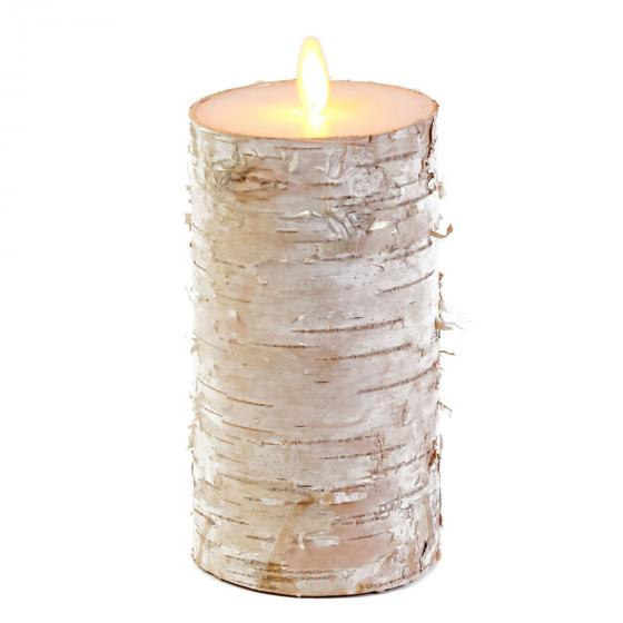LED-Kerze mit beweglicher Flamme, 15 cm, Birke