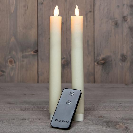 LED-Echtwachs-Stabkerze, 23 cm, elfenbein