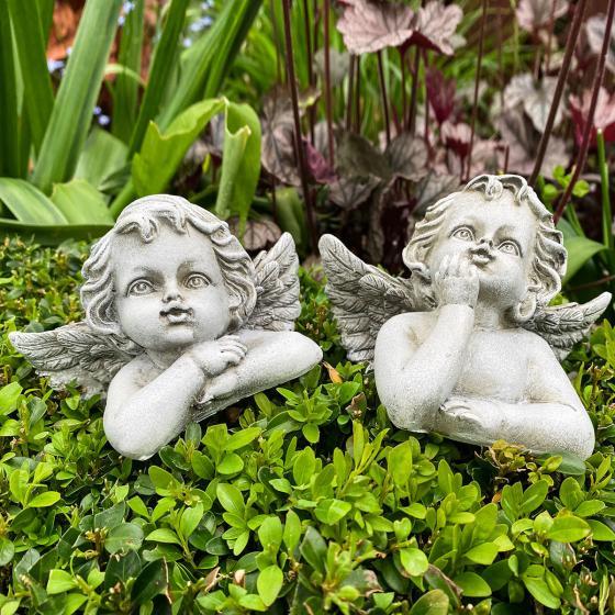 Deko-Engel Sophie und Marie, 12 cm, grau-antik, 2-fach