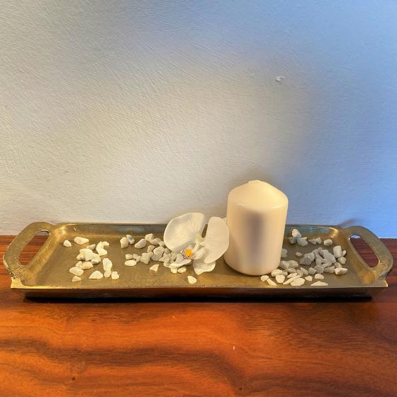 Stilvolles Tablett mit Griffen, 43x13x4 cm, gold