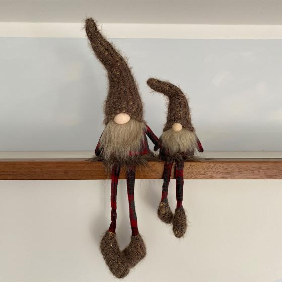 Adventswichtel Remi mit Baumelbeinen, 9x8x39 cm, klein, braun