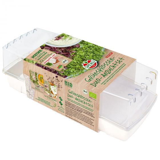 MicroGreen Duo-Anzuchtschale mit 2 BIO Samenpads und 1 BIO Grünsprossen