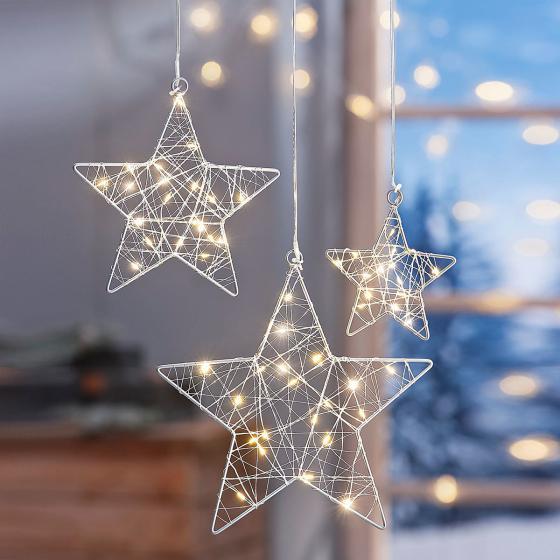 LED-Hängedeko Stars, 3er Set
