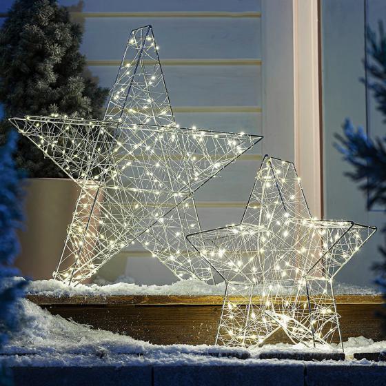 Sparset Outdoor Stern mit LED-Beleuchtung, 2er-Set
