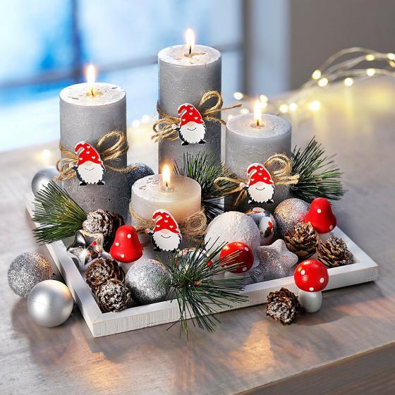 Kerzenset Wichtelfreunde mit 4 Kerzen und Tablett, 20x20 cm