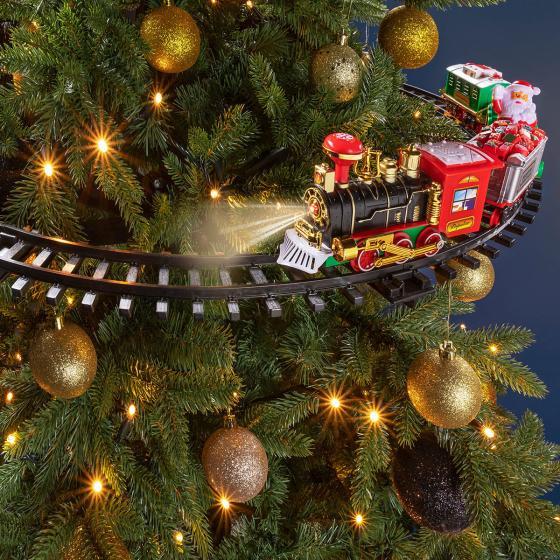 Schwebender Weihnachtszug mit Licht und Sound