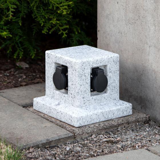 Gartensteckdose Granitoptik mit 4 Steckdosen