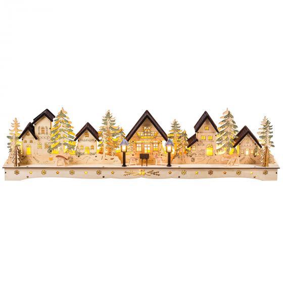 LED-Weihnachtsstadt mit handgeschnitzten Figuren