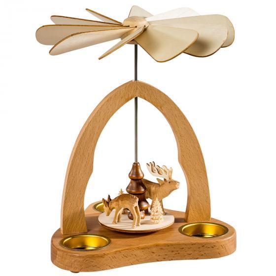 Teelicht Pyramide  mit Hirsch und Reh