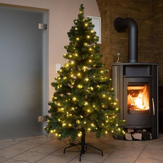 Künstlicher Weihnachtsbaum Kiefer mit LED-Beleuchtung, 180 cm