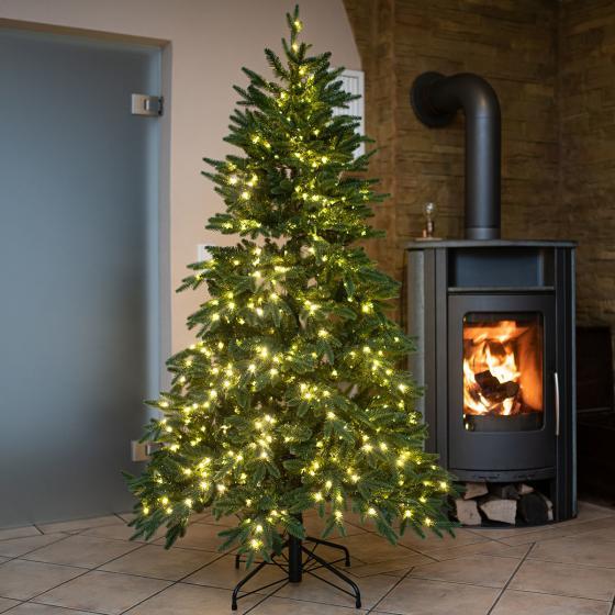 Künstlicher Weihnachtsbaum Fichte, mit LED-Beleuchtung, 150 cm