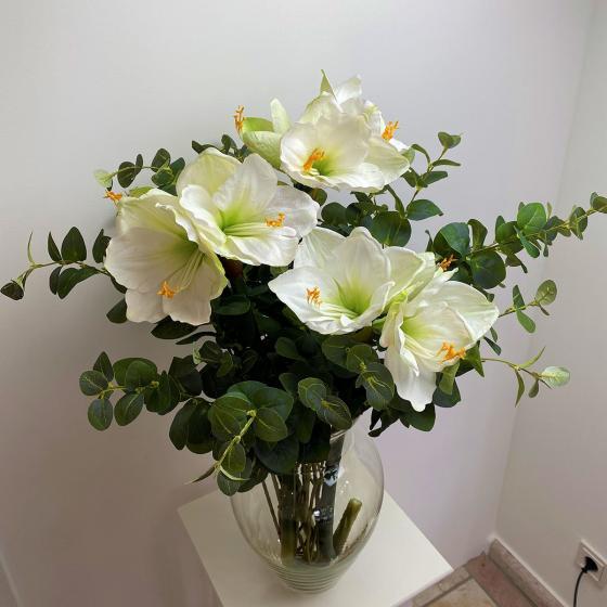 Kunstpflanze Amaryllis, weiß