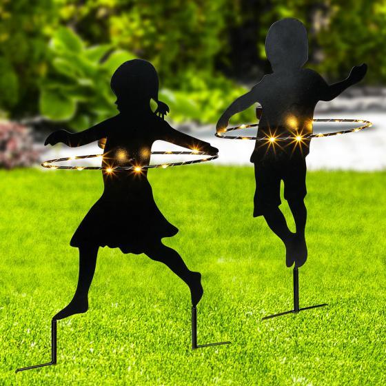 Gartenstecker Junge und Mädchen
