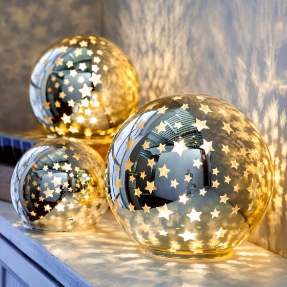 LED-Glaskugeln Sterne, 3er-Set