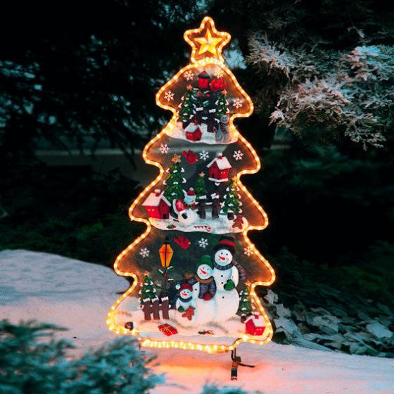 Leucht-Tannenbaum mit Schneemännern, 120x56x27 cm, Eisenblech, bunt