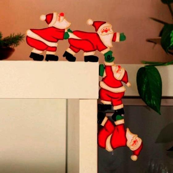 Kanten-Deko Weihnachtsmann-Quartett, 40x11x1,5 cm, Holz, rot