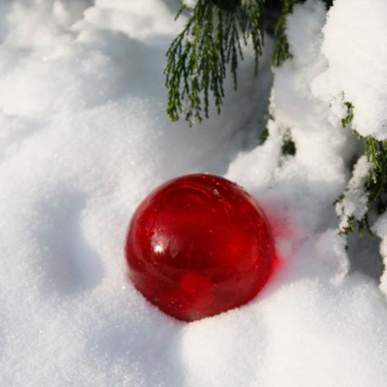 Glaskugel Weihnachtsglanz, rot 10 cm