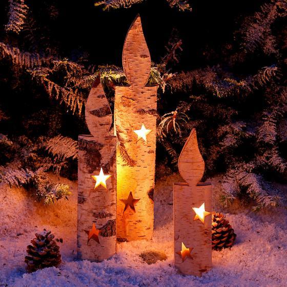 Holz kerzen nat rliche weihnacht 3er set von g rtner for Gartendeko kerzen