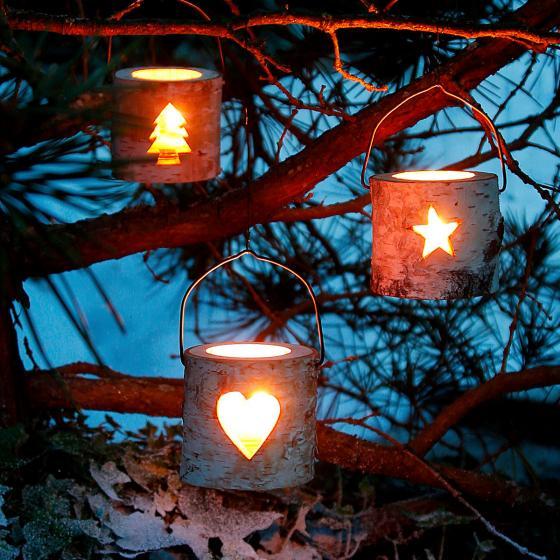 Teelichthalter Natürliche Weihnacht, 3er-Set